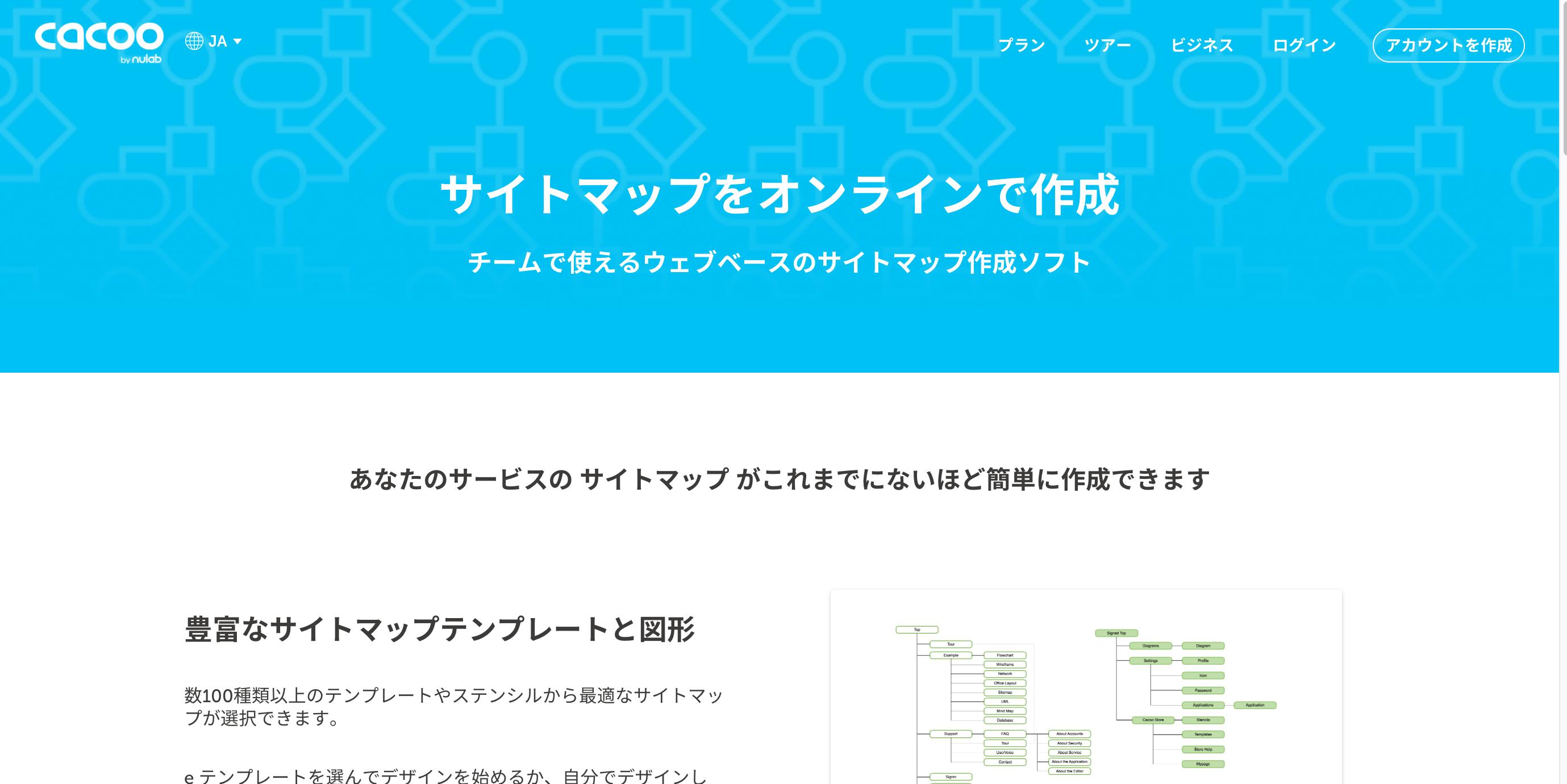 cacooinc - サイトマップをテンプレートを使って簡単に作成する方法